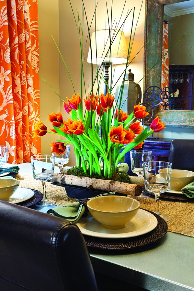 Spring Accent Dining Room flowers