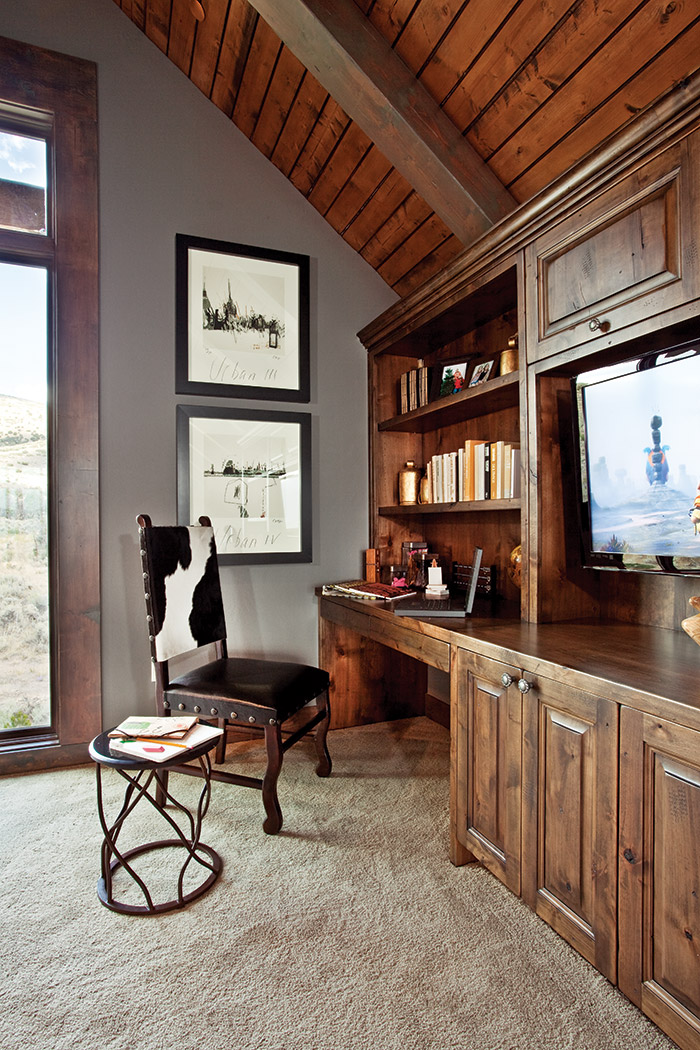 Rustic Office Space With Cowhide Chair