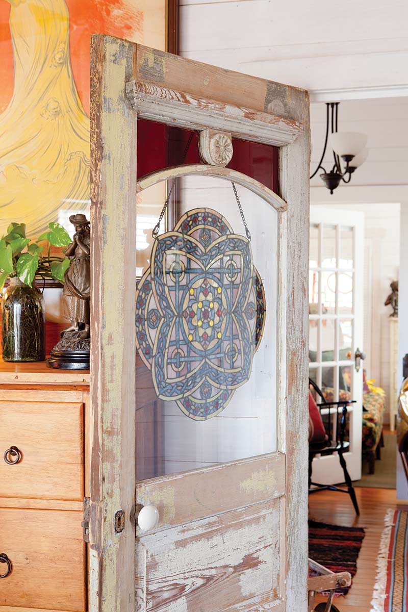 Texas Countryside Cottage - The Cottage Journal - Stain Glass Antique Door