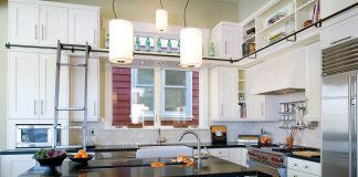 Contemporary Kitchen with Ceiling High Cabinets