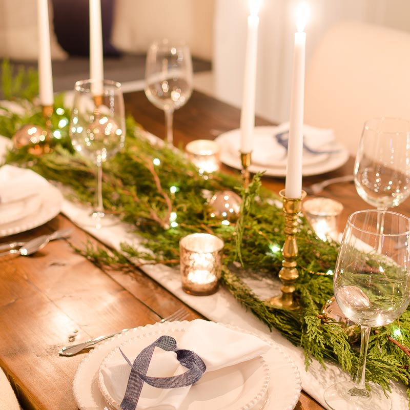 Christmas Lights Tablescape