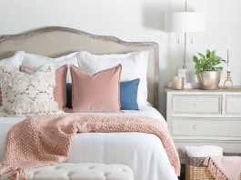 cozy bedroom with pink accents
