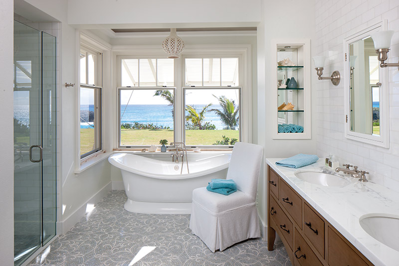 bathroom with a view of Bermuda beaches
