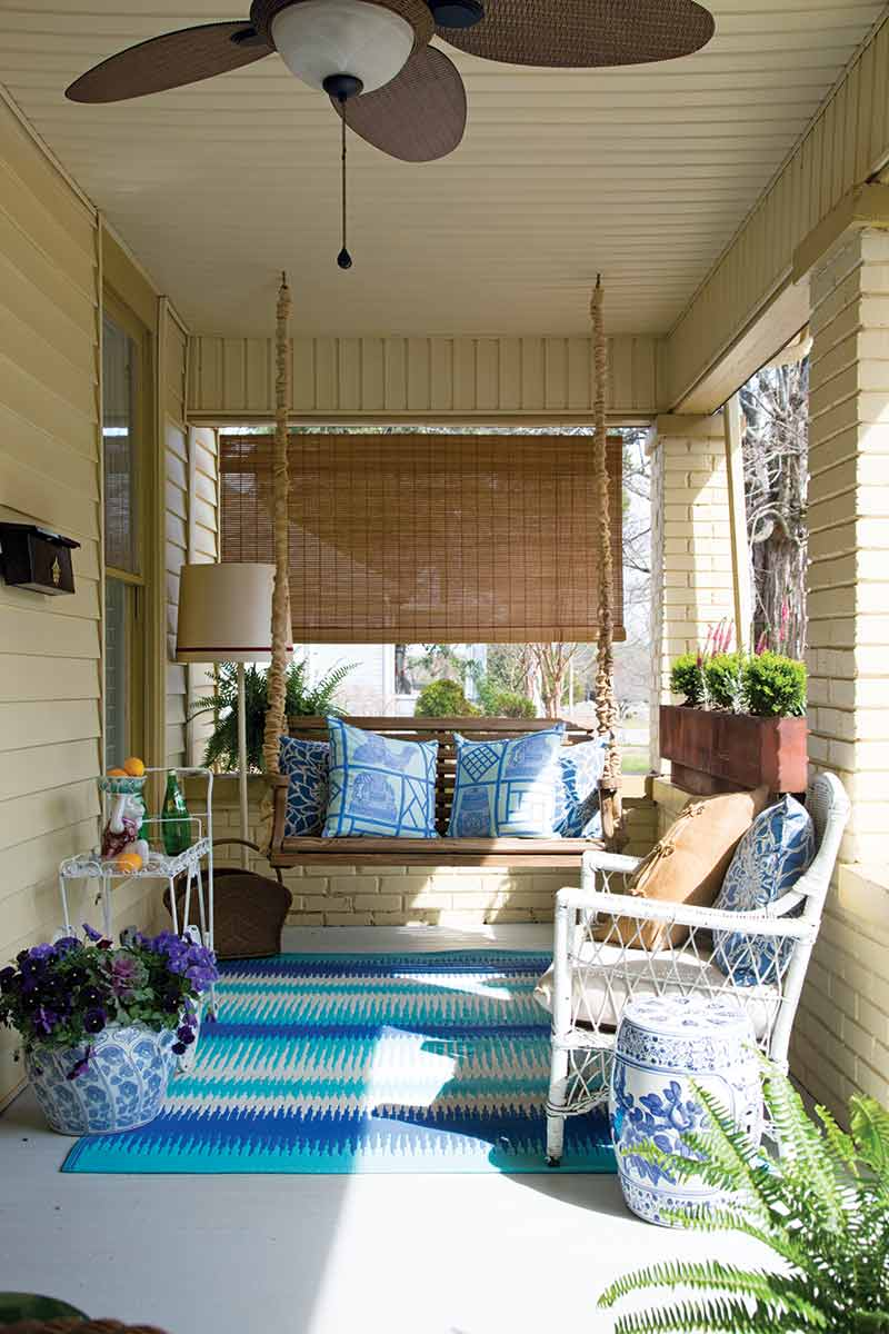 front porch with blue accents