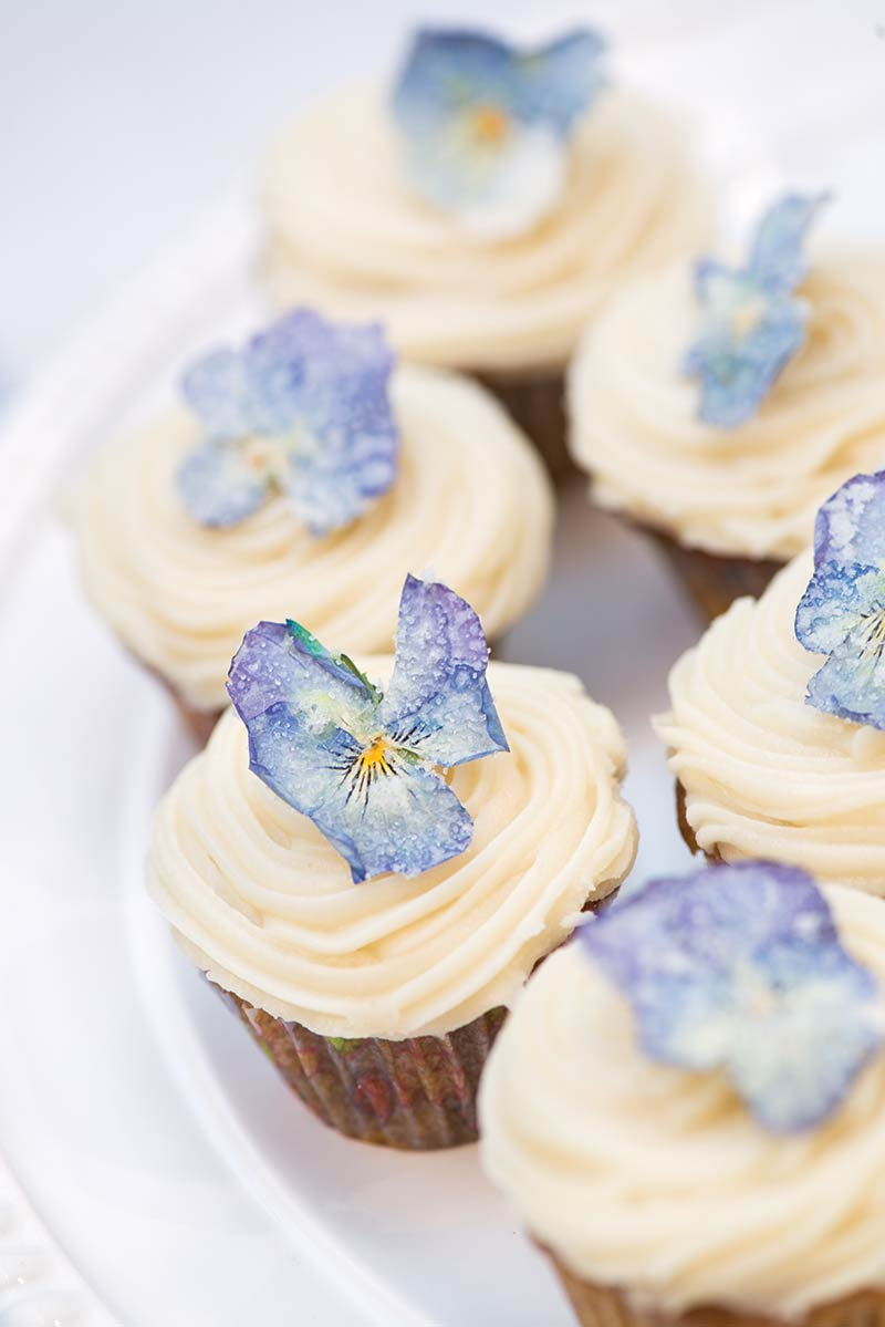 Cupcakes adorned with candied violets