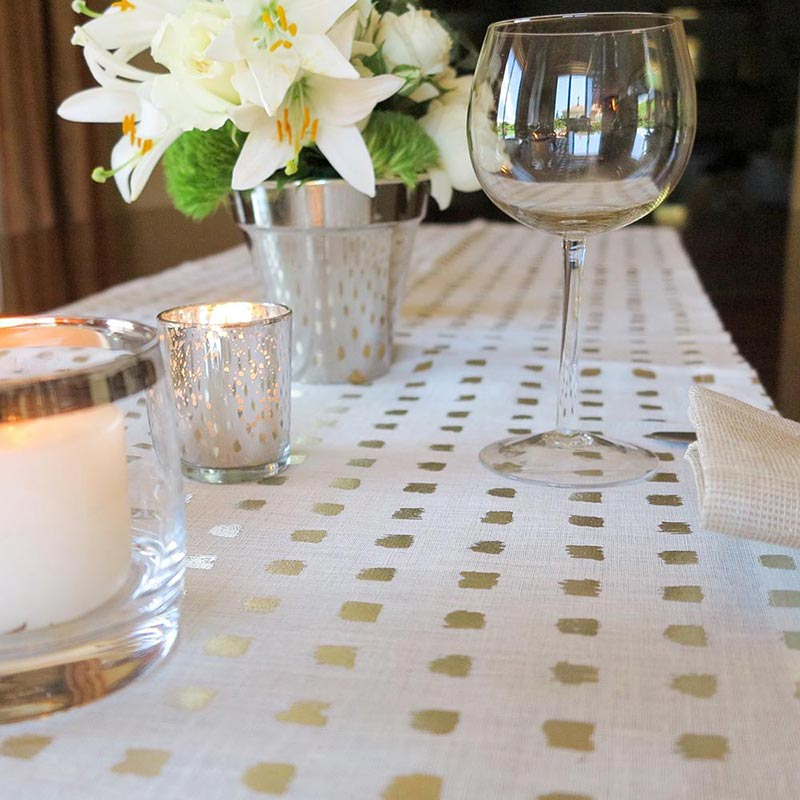 linens and wine glass