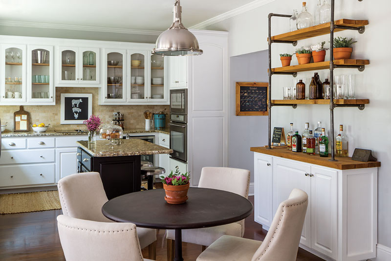 kitchen with wooden open shelving