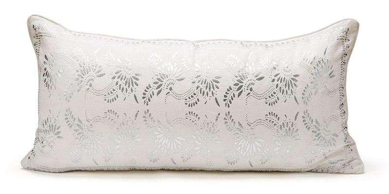 white and silver metallic lumbar pillow