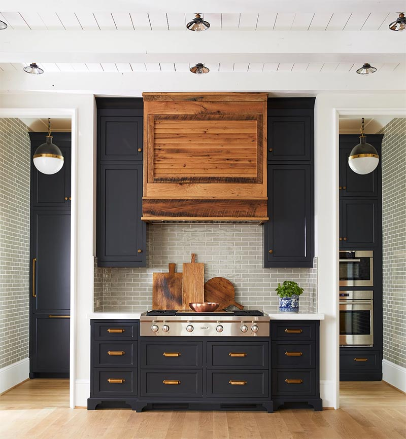 cutting boards and sleek black cabinetry