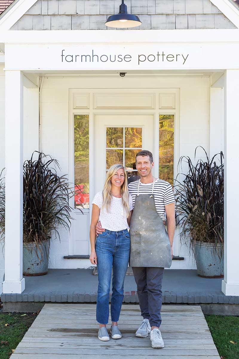 Farmhouse Pottery store front and owners