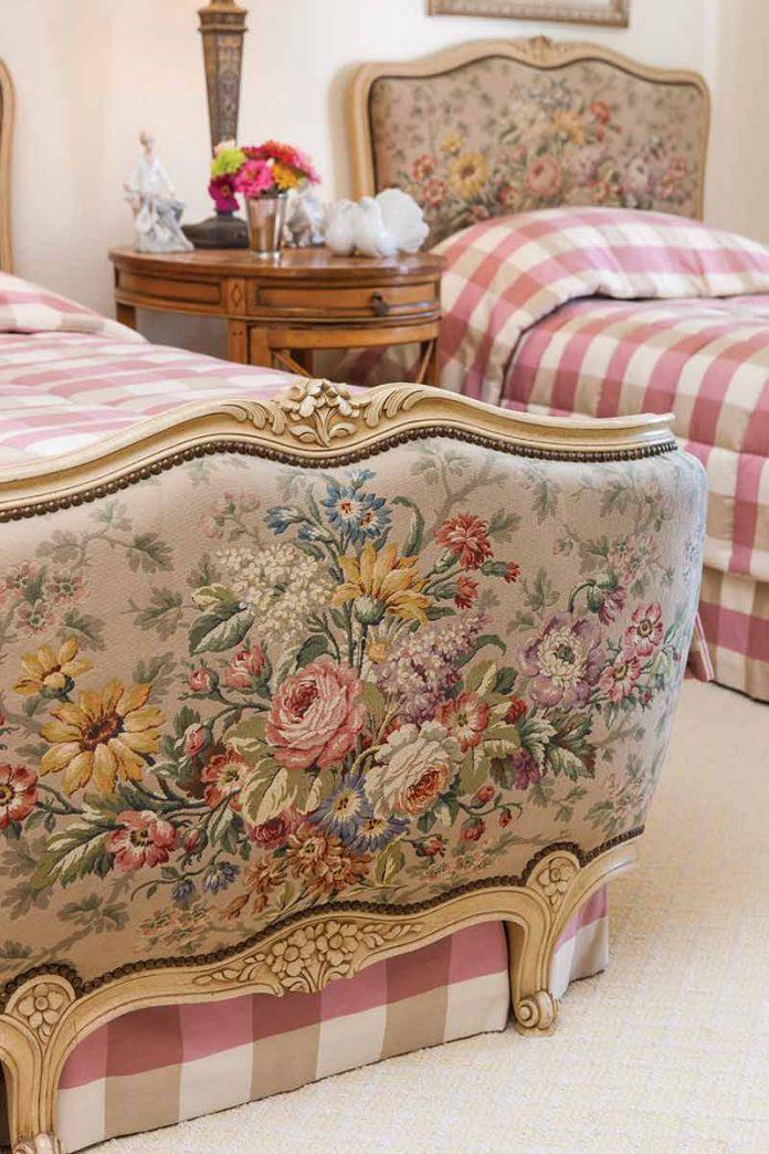 floral upholstered headboard