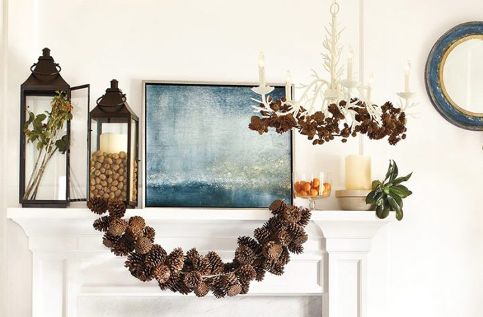 autumn decor - pinecone garland