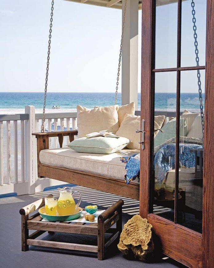 Porch swing by the sea