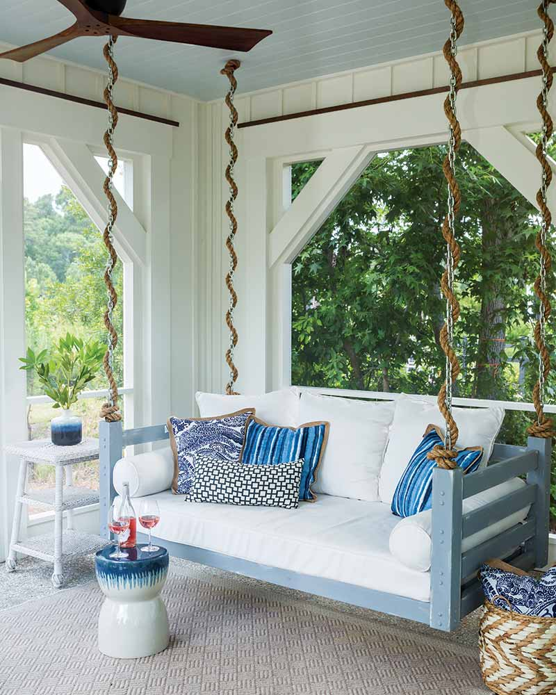 white and blue back porch