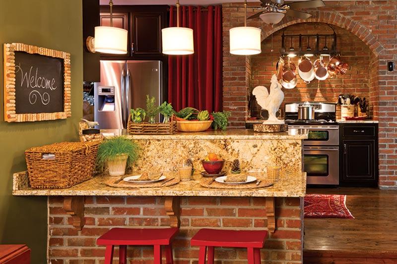 cabin kitchen with brick backsplash