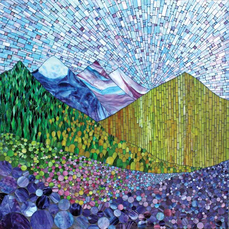 Mountain spring stained glass mosaic