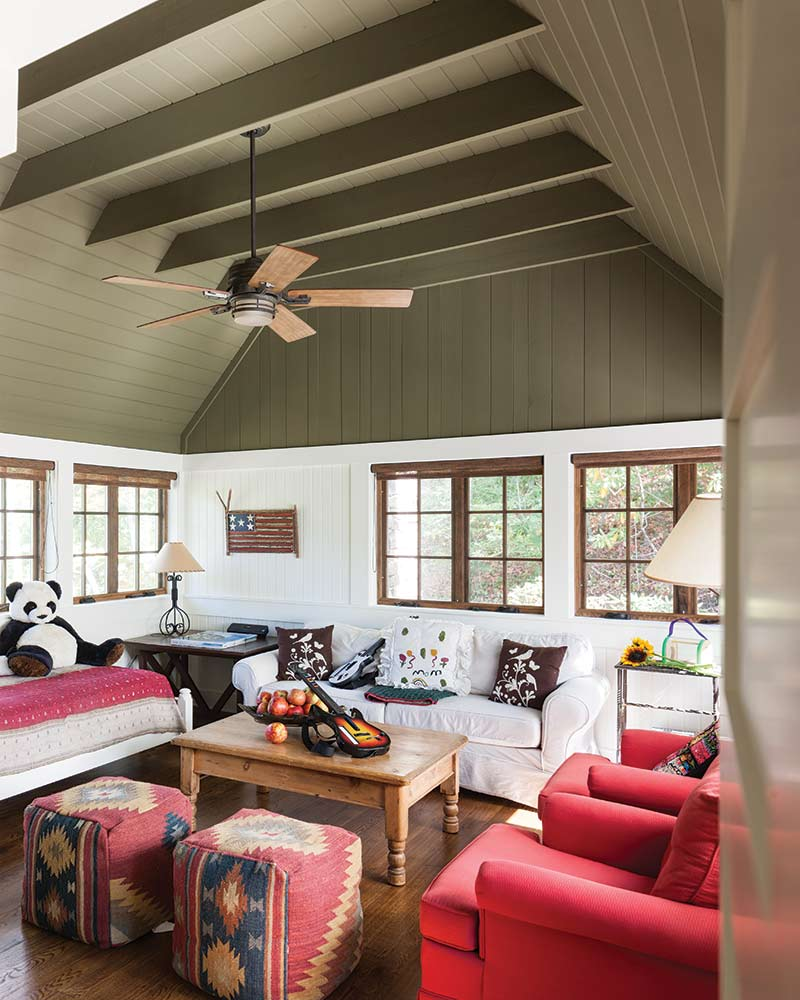 upstairs living room in Cashiers, NC cottage