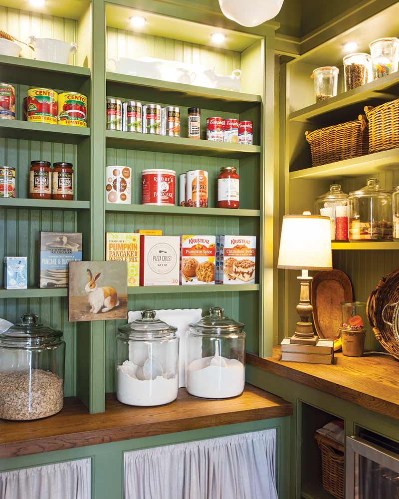 organized cottage pantry