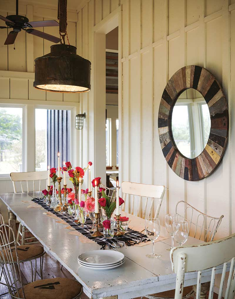 dining room with floral centerpiece