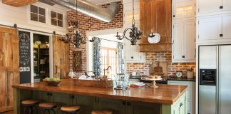 kitchen with brick backsplash and green cabinetry