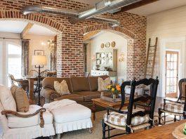 Exposed brick living area