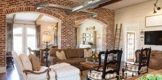 Exposed brick living area