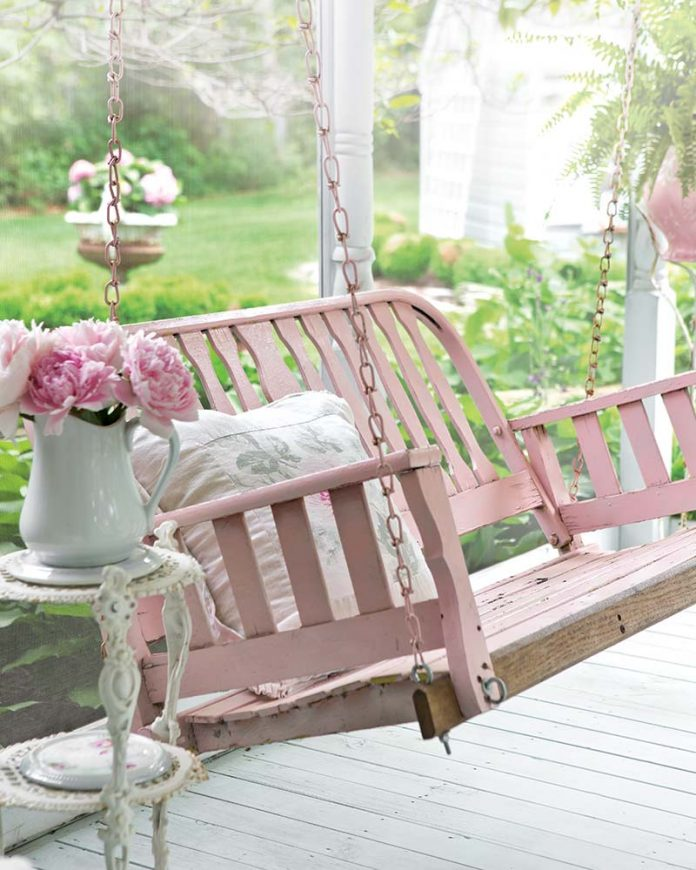 pink porch swing