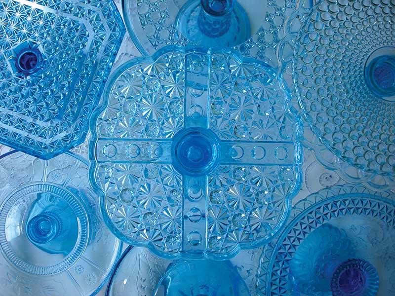 blue vintage cake stands