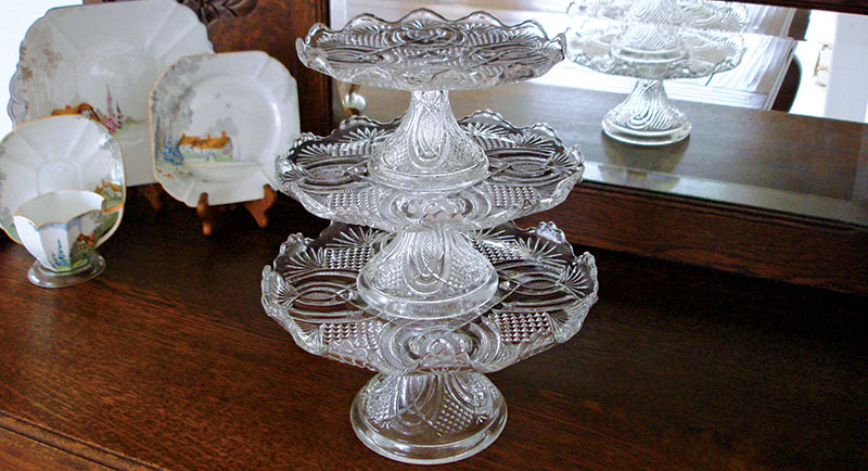 glass cake stand collection