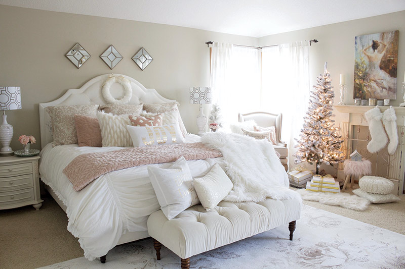 Christmas bedroom decor with pink accents
