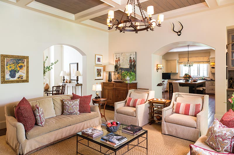 great room with coffered ceilings