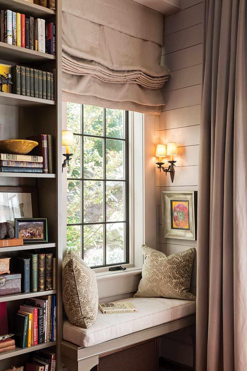 window seats and book shelf