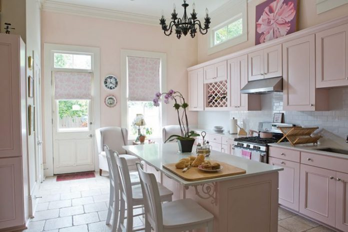 blush pink kitchen