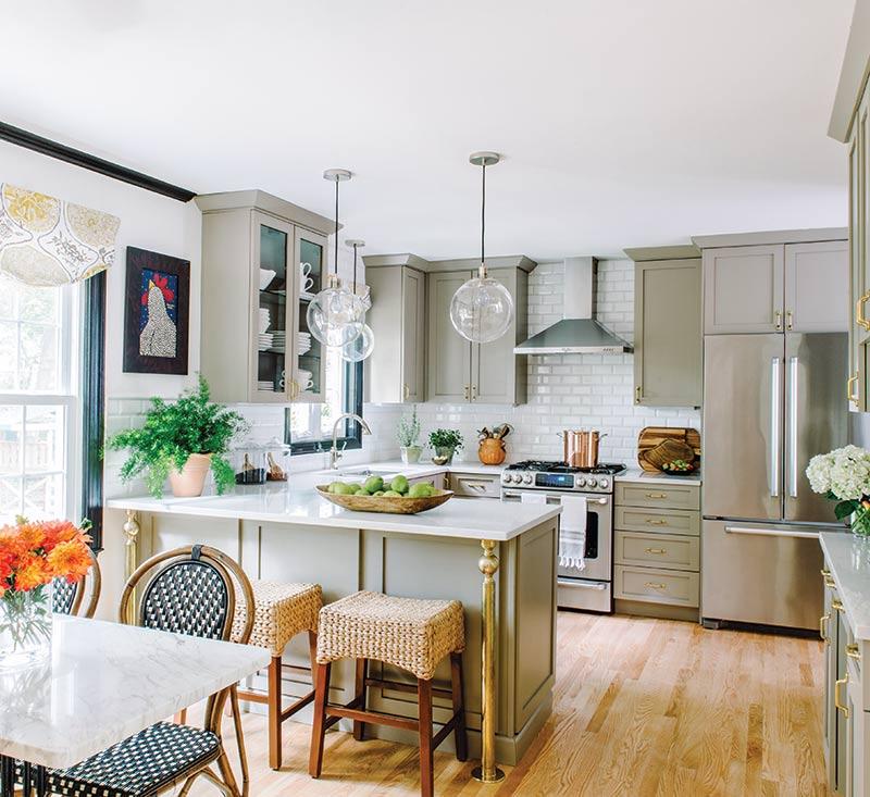 autumn kitchen with beige cabinets