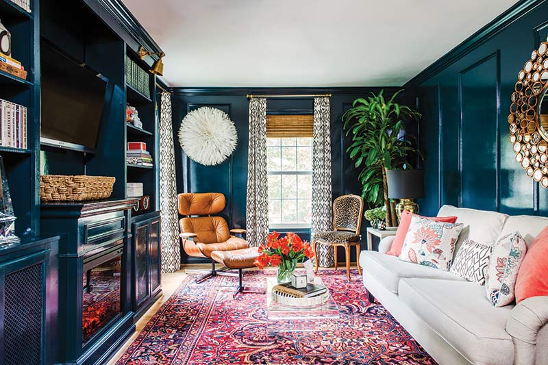 deep teal painted TV room
