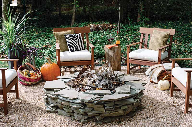 cozy autumn backyard with firepit