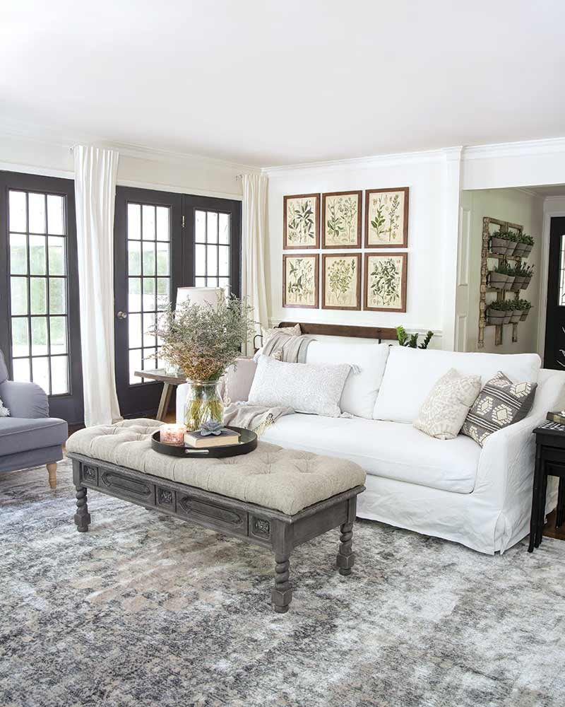 family room with white couch