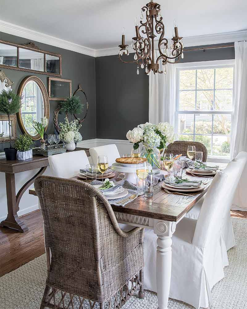 Dining Room with dark gray walls