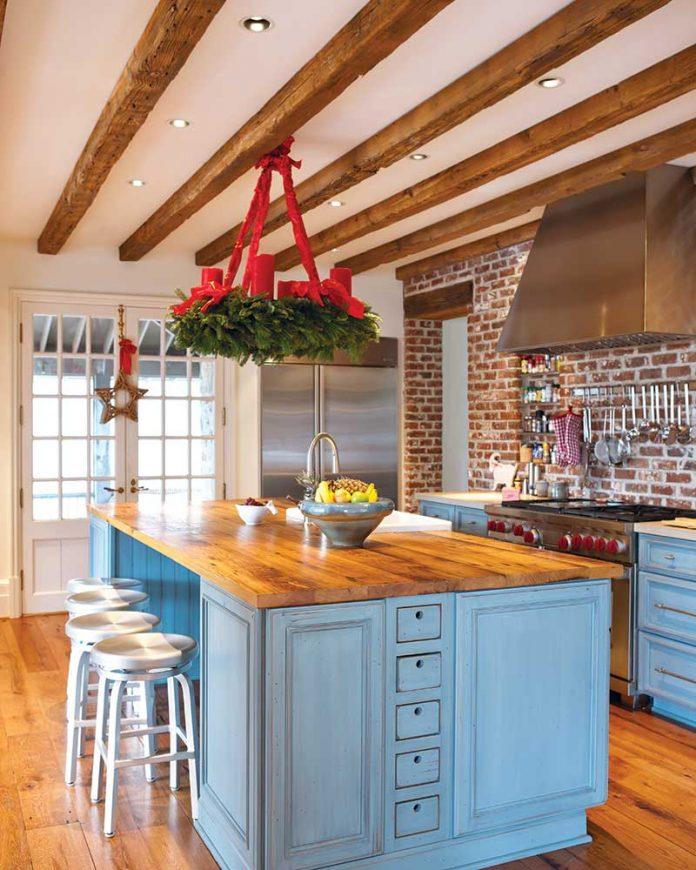 Christmas kitchen with blue island