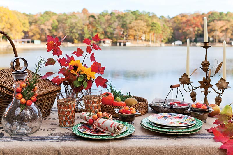 Thanksgiving table by the lake