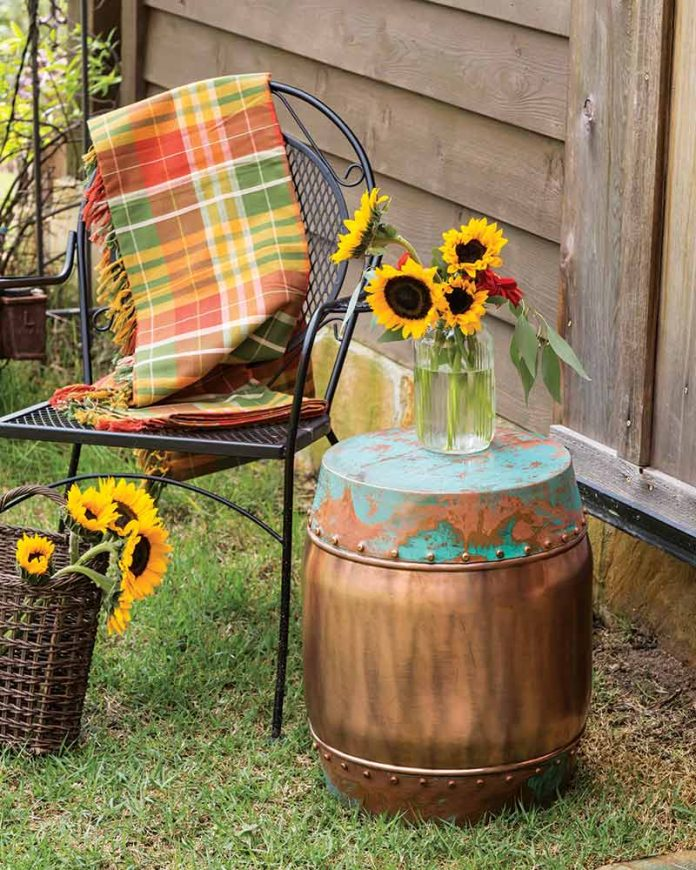autumn outdoor copper side table