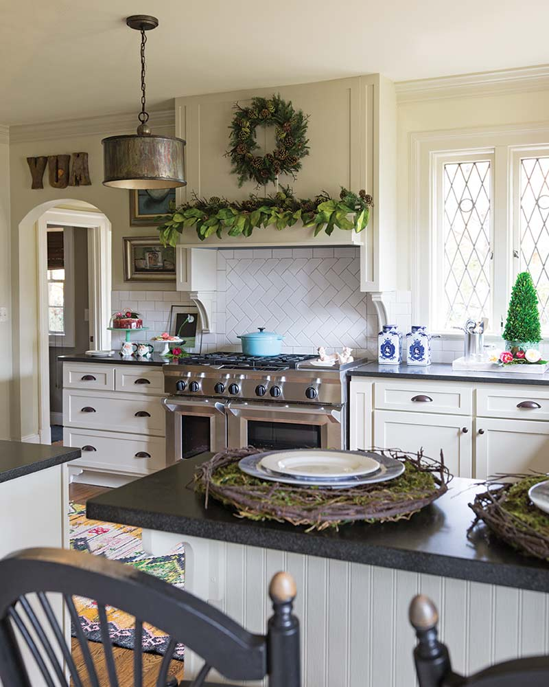 Christmas greenery in white kitchen