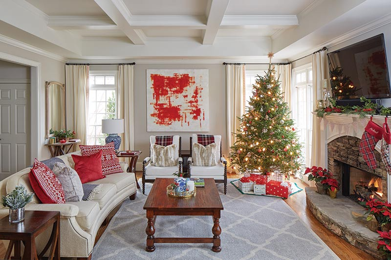 Cottage Living Room with Christmas Tree