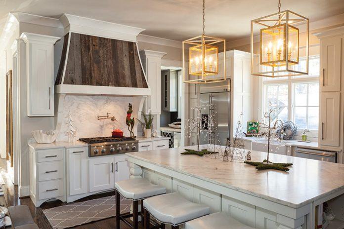 White kitchen with wooden range