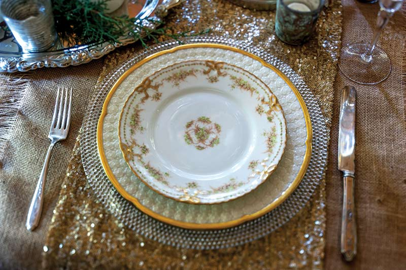 white and gold Christmas china