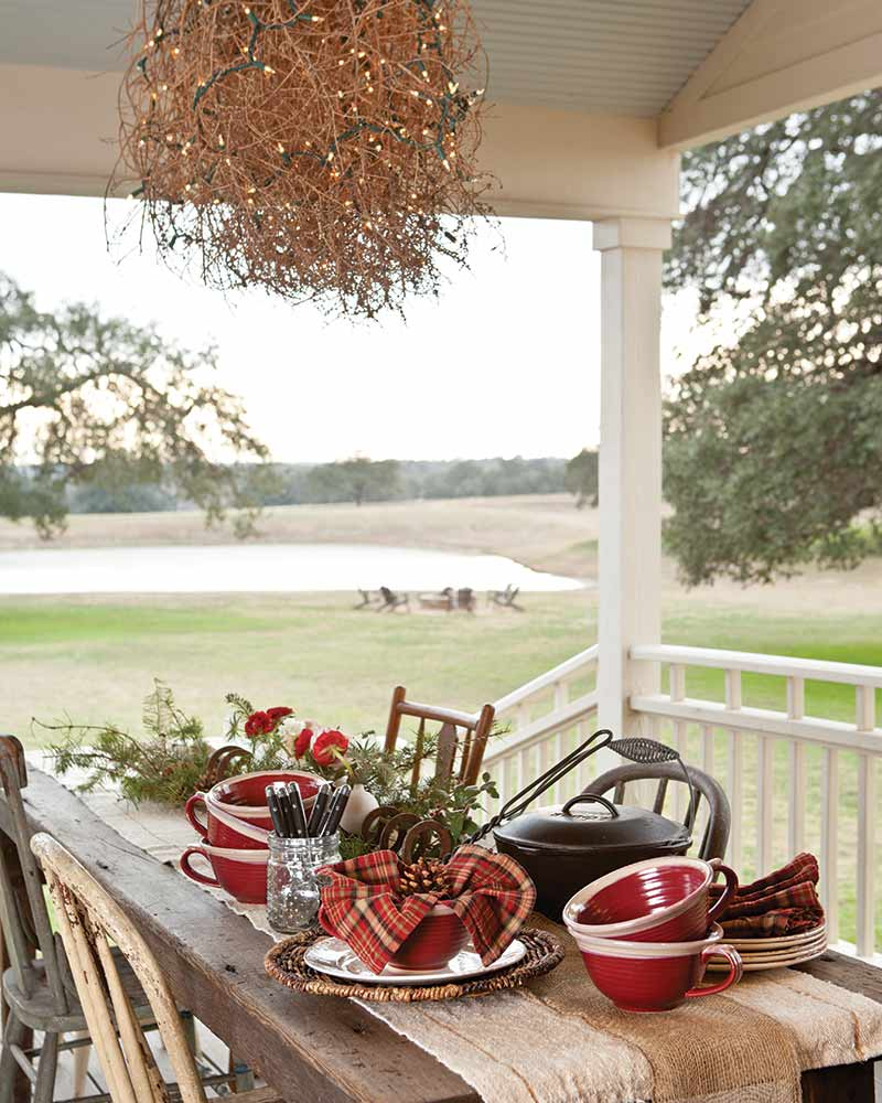 front porch with tumbleweed chandelier