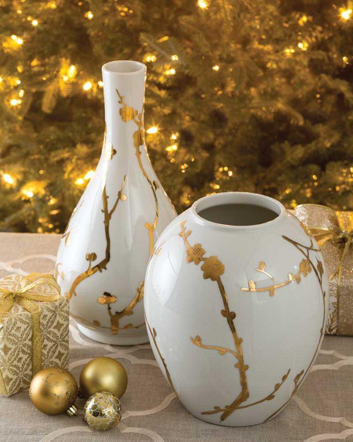 Gilded Blossoms ceramic vases