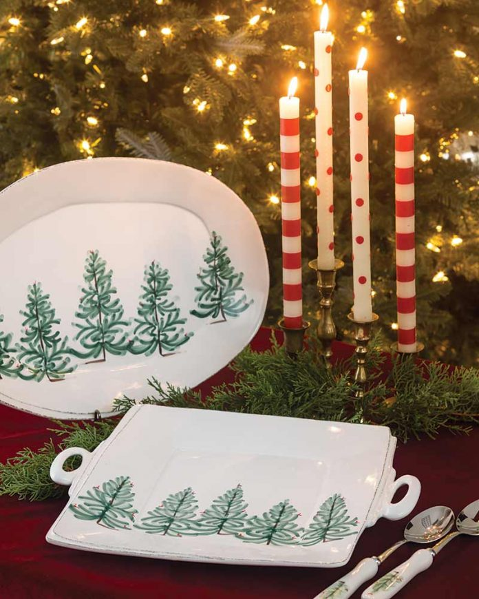 Lastra Holiday Handled Square Platter, Oval Platter, and Salad Server Set from Vietri