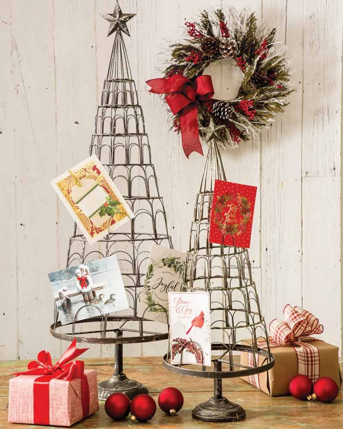 Metal Christmas tree card holders from Peacock Park Design,