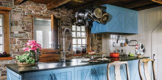 Rustic kitchen with blue island